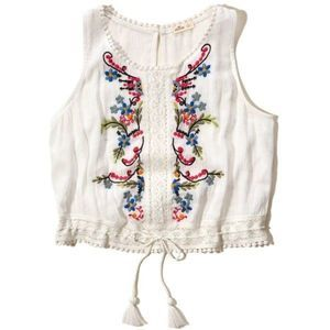 Hollister Embroidered Ivory Cropped Tank Top XS